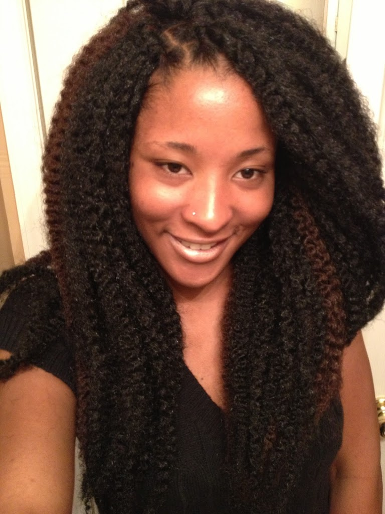 To tame all the hair, I put in about 12 chunky twists and then tied ...
