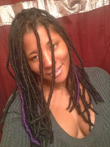 Faux Loc Extensions with Purple Highlights