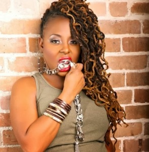 Ledisi with Loc Extensions and Side-Swept Updo