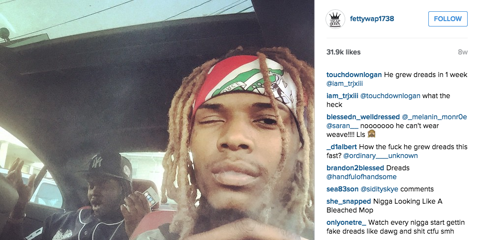 First picture Fetty Wap posted with his loc extensions and the disrespectful comments he received