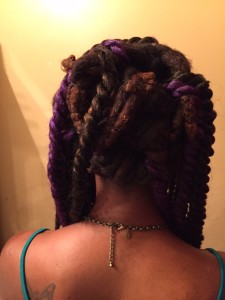Back view of Cornrows on Locs for Crochet Havana Mambo Twists - CURLYNUGROWTH.com