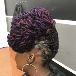 Updo with Tight Curls Hairstyle for Locs