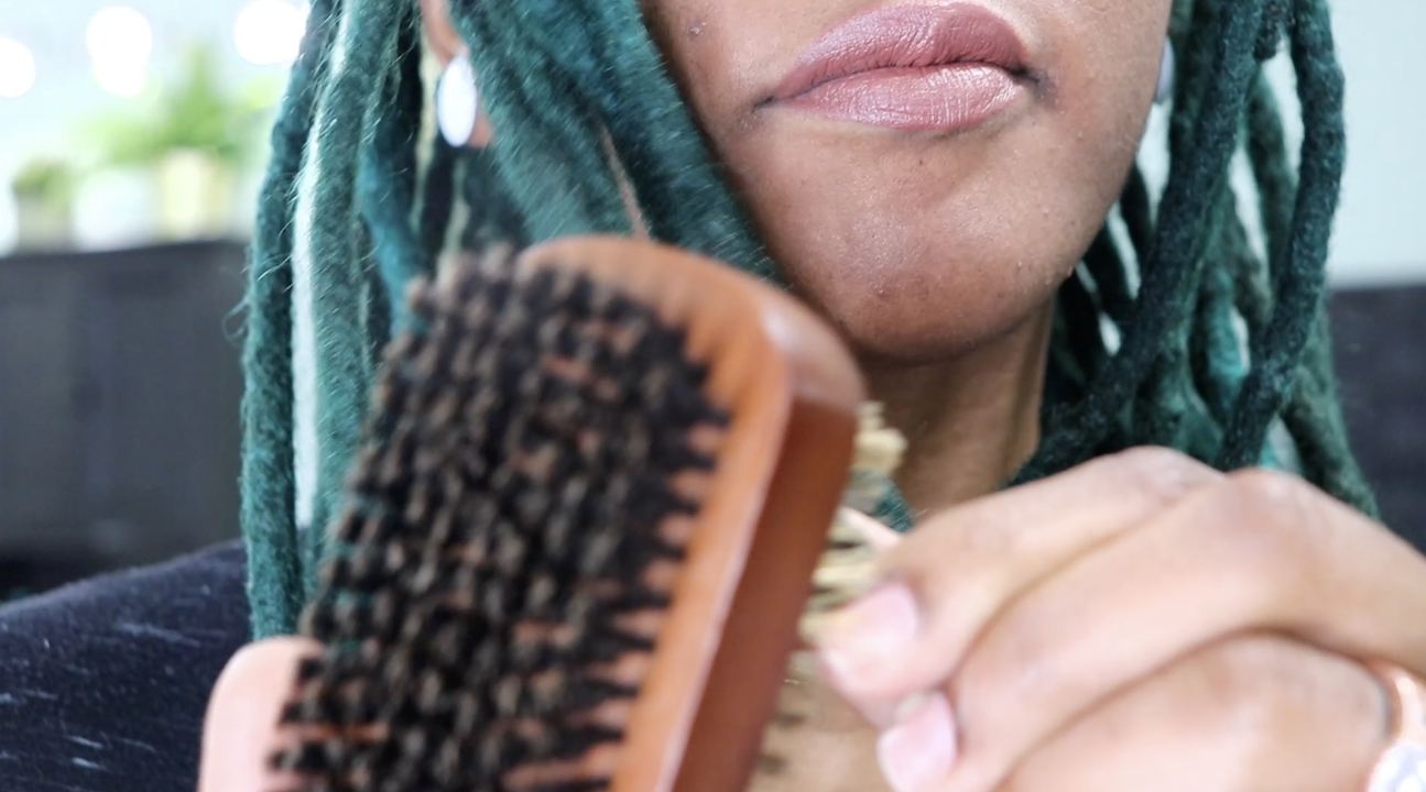 Loc Brushing to Remove Lint